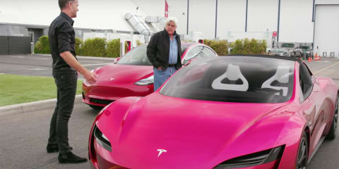 Jay Leno samples the Tesla Roadster and Model 3 - video