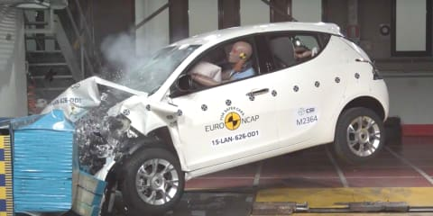 Lancia Ypsilon catches fire during EuroNCAP crash test, BMW Z4 manages just three stars