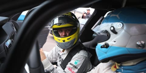 Formula 1 driver Nico Rosberg takes on Sergio Aguero in race off video