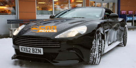 Aston Martin Vanquish Volante: soft-top-supercar spied in the snow