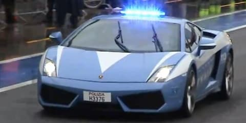 Video: Lamborghini Gallardo LP560-4 police car hits Monza circuit