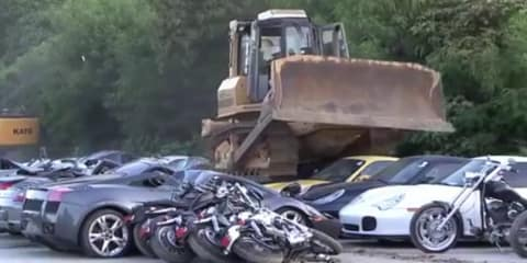 "$8 million dollars of luxury cars crushed in Philippines: the ""war against smuggling"""