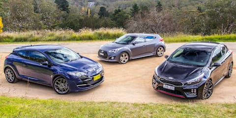 Sporty hatch comparison : Kia Pro_cee'd GT v Hyundai Veloster SR Turbo v Renault Megane RS265 Sport