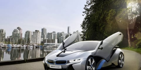 BMW i8 Concept plug-in hybrid sports car in detail