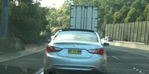 2010 Hyundai i45 spy photos, testing in Sydney this morning