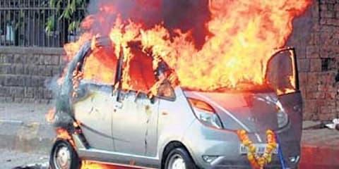 Tata Nano up in flames, again
