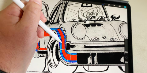 Artists post car colouring pages for grownups and kids alike to weather the weeks ahead
