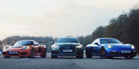 RS5 v Cayman GTS v Exige 430 drag race - video