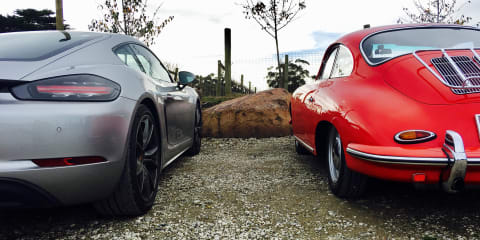 2017 Porsche 718 Cayman S takes a ride with vintage Porsches