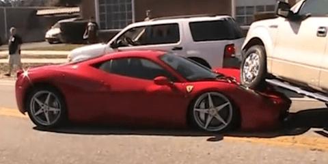 Ferrari 458 Italia crushed by Ford F150