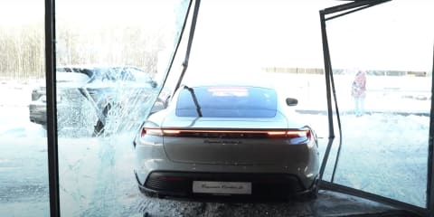 Porsche Taycan smashes through showroom window, Russian vlogger gets millions of clicks