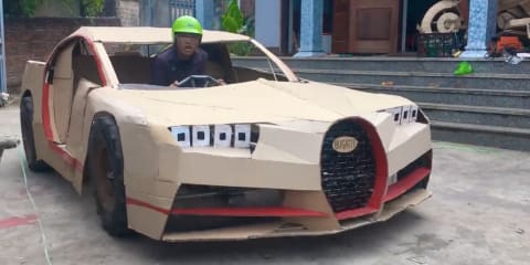 World's fastest car Bugatti Chiron made from cardboard