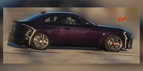 2022 BMW 2 Series side profile spied undisguised with box arches, sharp lines