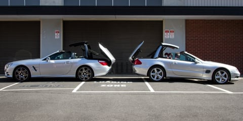 Mercedes-Benz SL500 - roof folding race. R230 v R231