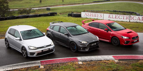 Focus RS v Golf R v WRX STI Comparison:: Track Test