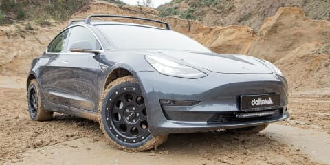 Tesla Model 3 electric car transformed into off-roader