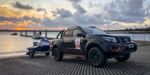 Chasing 90 jet skis in a Nissan Navara Warrior