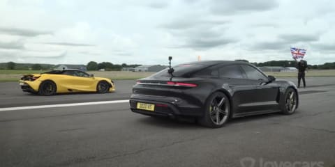 2021 Porsche Taycan Turbo S electric car versus McLaren 720S in drag race