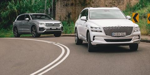 2021 Genesis GV80 3.0D v 2021 Volkswagen Touareg 210TDI R-Line comparison