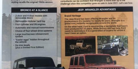 Jeep Targets Ford Bronco in alleged dealer training brochures