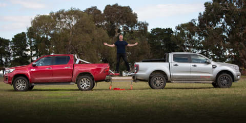 Video: 2020 Ford Ranger v Toyota Hilux... Tug o' War!