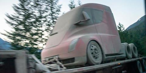 Tesla truck prototype spied following winter testing