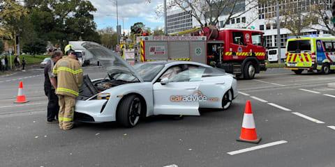 Australia's first wrecked Porsche Taycan? $200k electric car crashes in Melbourne