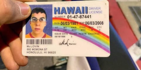 Police stop motorcyclist with fake McLovin licence from the movie SuperBad