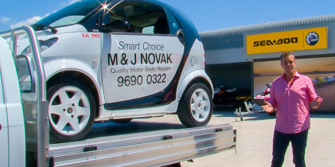 Isuzu D-MAX 4x2 Cab Chassis tray with a Smart Car