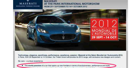 New Maserati sports car set to debut at 2012 Paris motor show
