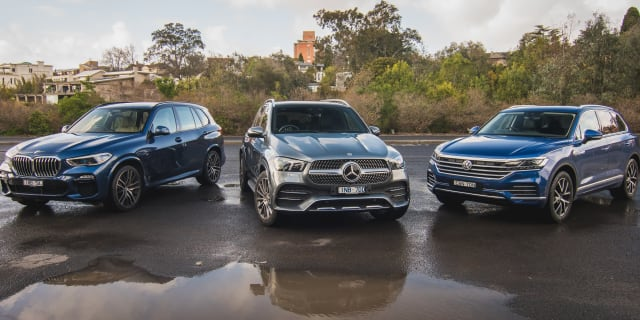 2019 BMW X5 xDrive30d v Mercedes-Benz GLE 300d v Volkswagen Touareg Launch Edition comparison