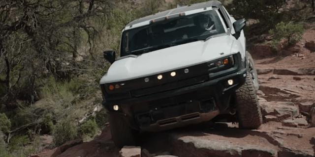 Video: GMC Hummer EV shown rock crawling and 'crab walking'