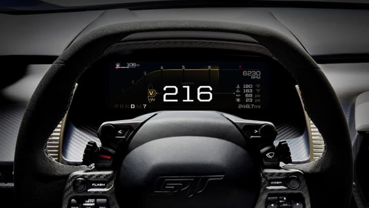 Like the glass cockpit in airplanes and race cars, the all-new Ford GT features an all-digital instrument display in the car's dashboard that quickly and easily presents information to the driver, based on five special driving modes.