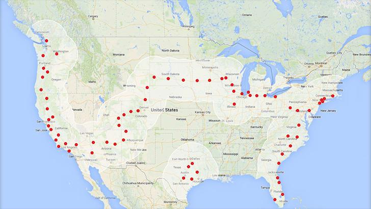 Tesla Supercharger network - US