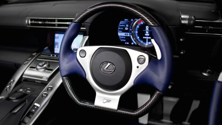 Lexus LFA supercar featuring black and blue interior