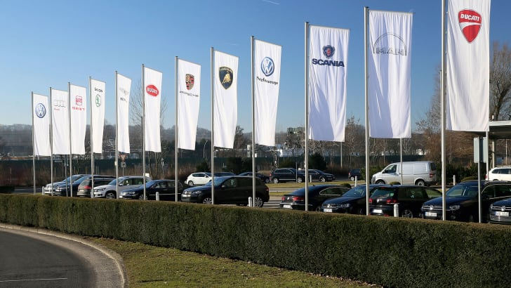 Volkswagen brands' flags at Wolfsburg plant