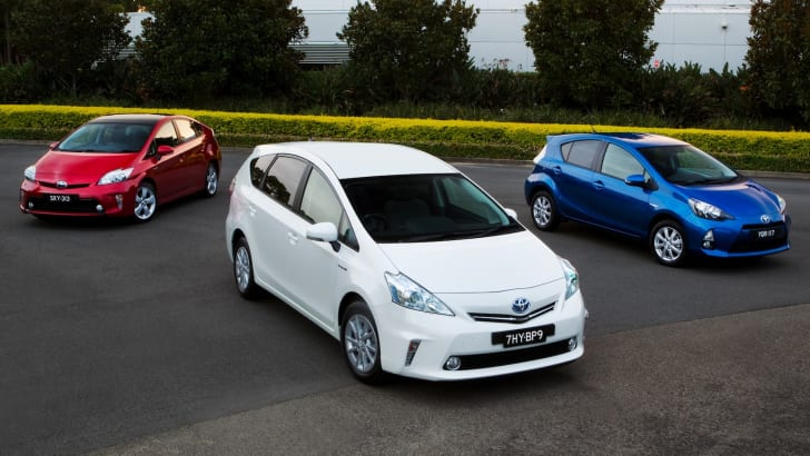 2012 Toyota Prius family - (left to right) Prius, Prius v and Prius c