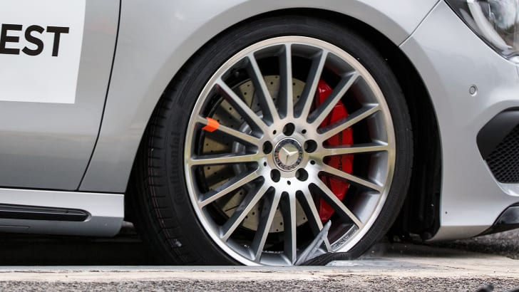 The fake wheel broke at just 50km/h in the pothole test