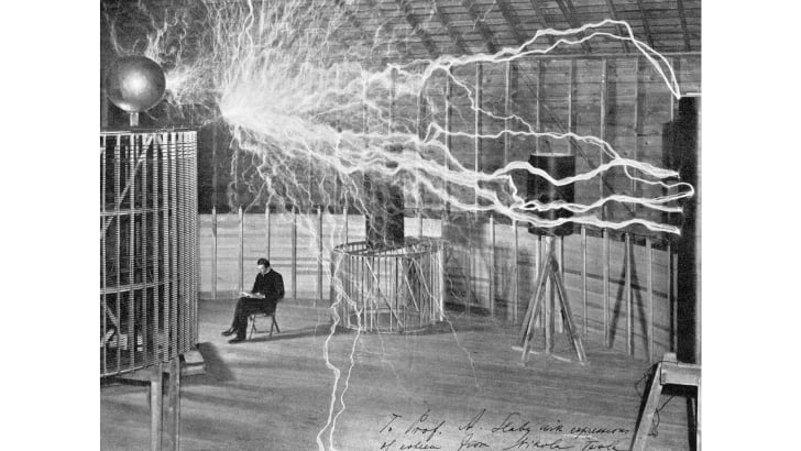 Generating artificial lightning in Nikola Tesla's laboratory.