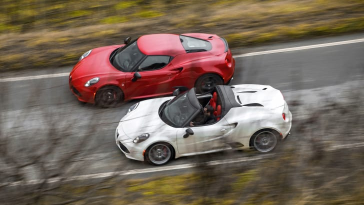2015 Alfa Romeo 4C Coupe (top) and Alfa Romeo 4C Spider (bottom)