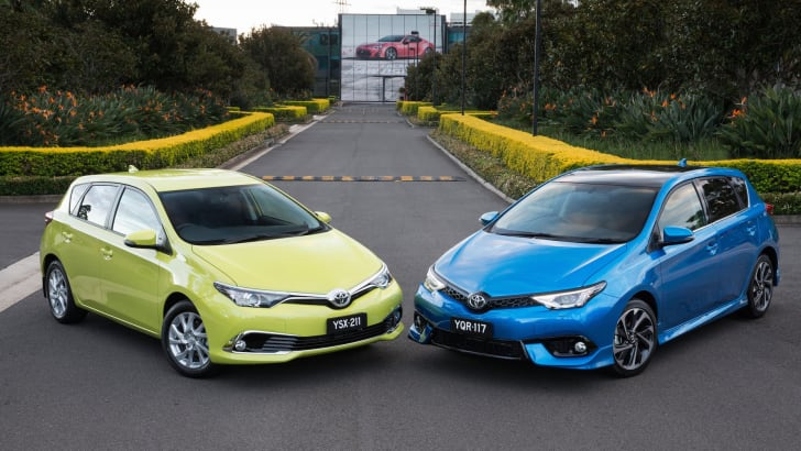 2015 Toyota Corolla Ascent Sport hatch (left) and ZR hatch