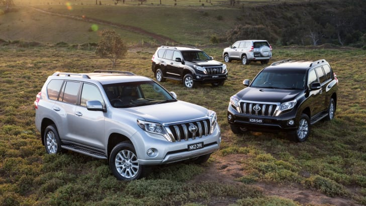 Toyota Prado (front to rear): Kakadu, VX, GXL and GX