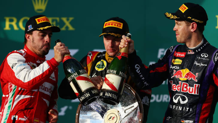 Fernando Alonso, Kimi Raikkonen and Sebastian Vettel - Winners