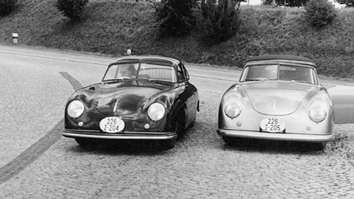 World's first two right hand drive Porsches on their way to Australia in 1951