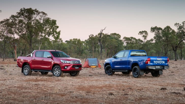 2015 Toyota HiLux: SR5 double cab (left) and SR extra cab.