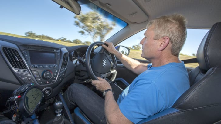Anthony Crawford driving the 2014 Hyundai VelosteRaptor.