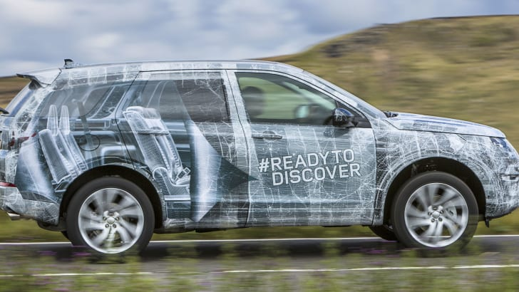 Land Rover Discovery Sport camouflaged driving
