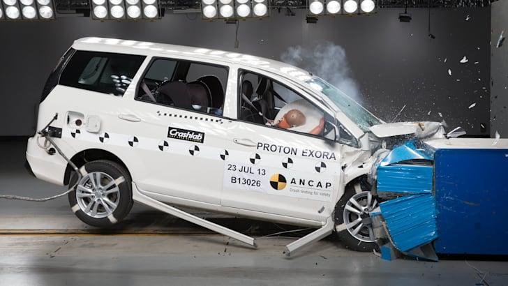 Proton Exora Frontal Offset Crash Test