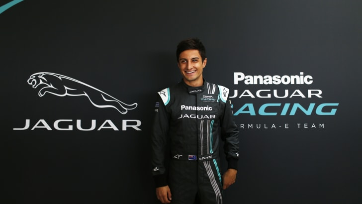 Mitch Evans during the official Jaguar Racing Formula E Launch at the Jaguar Heritage Collections Centre, Gaydon, UK.