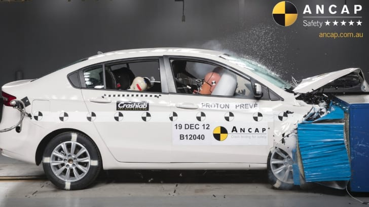 Proton Preve Frontal Offset Crash Test
